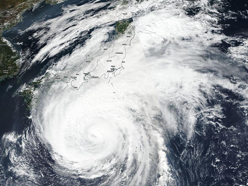 Satellite image of Typhoon Hagibis approaching Japan
