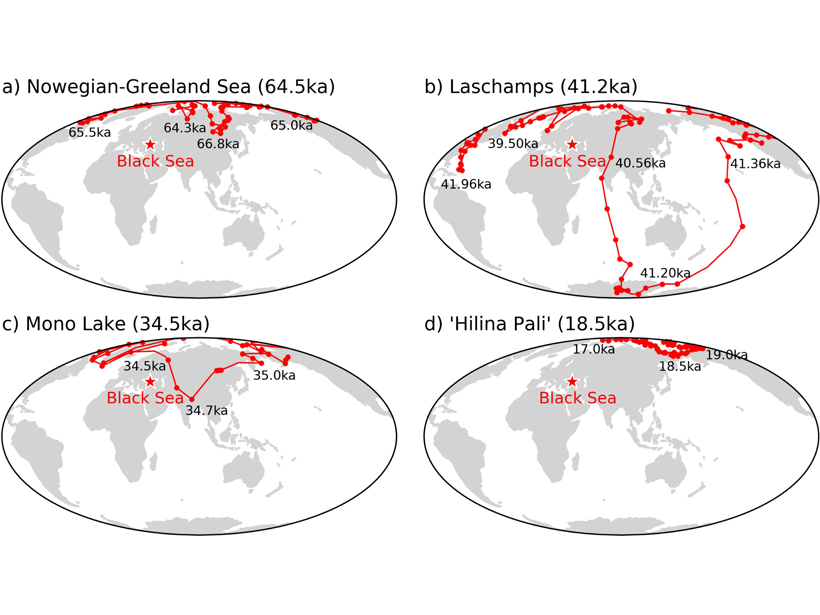 Series of global maps showing virtual geomagnetic pole paths as calculated from the Black Sea paleomagnetic directional record