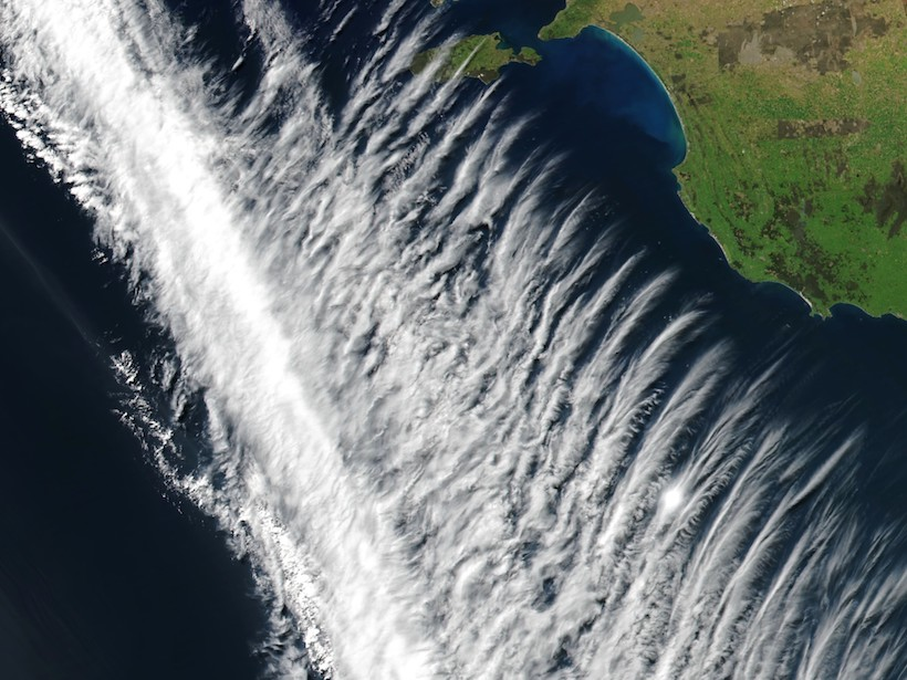 Satellite image of gravity waves in tropospheric clouds off southern Australia in 2017