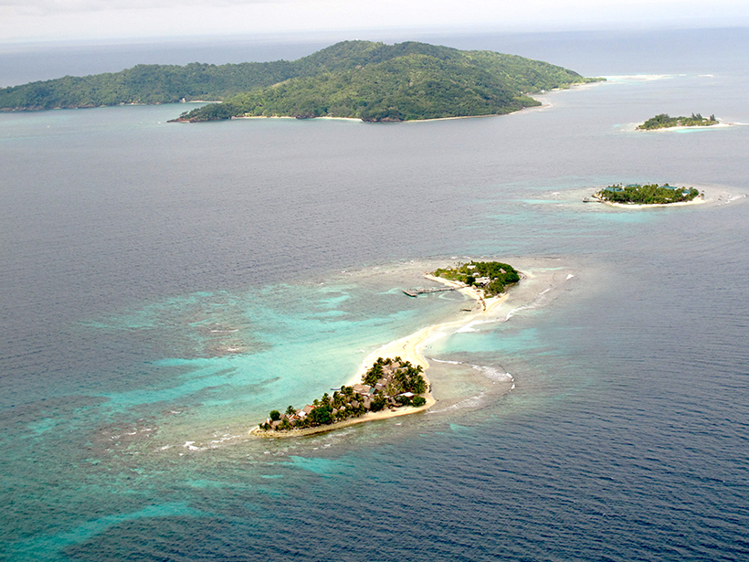 Aerial photo of Cayos Cochinos, a series of small coral cays off the Caribbean coast of Honduras