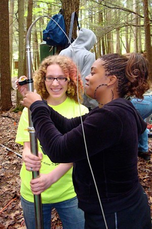 Claudia Shuman and Stephanie Troutman prepare an optical televiewer for deployment.