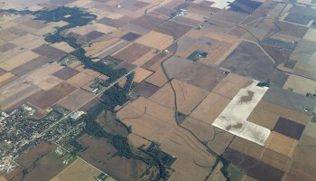 Aerial view of patchwork agricultural fields in Illinois