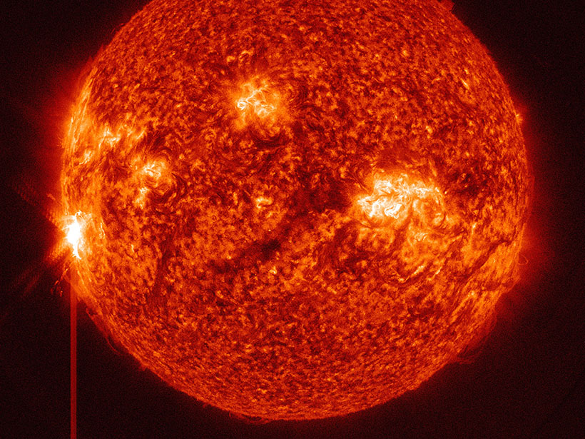 An X4.9 class solar flare erupts from the Sun.