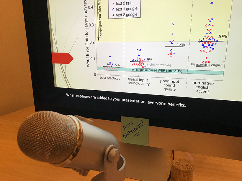 A large microphone sits in front of a computer monitor displaying a graph on captioning