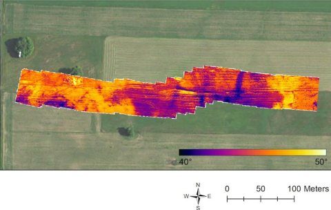 Aerial view of the study site in Kewaunee County partially overlaid with images from a thermal camera