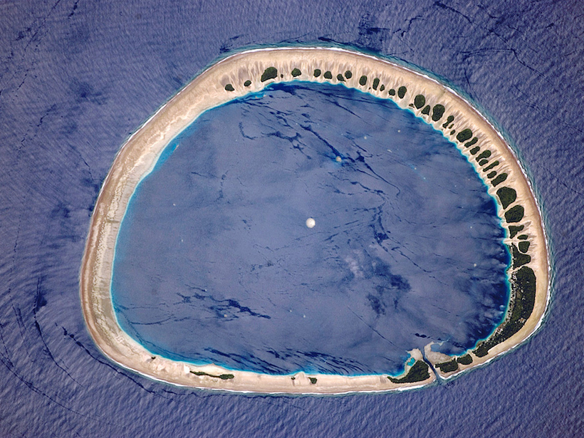 Satellite image of ring-shaped Nukuoro Atoll in the Pacific