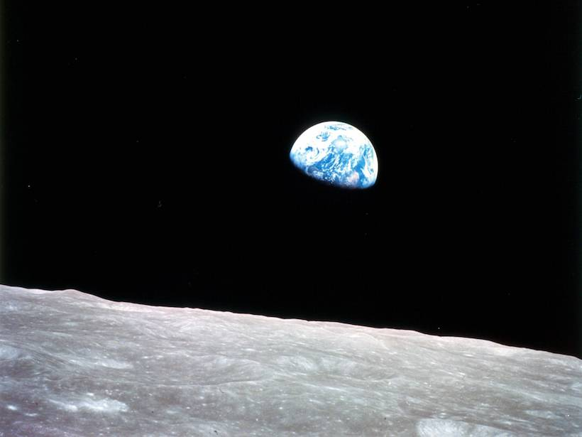 Satellite image of Earth, as filmed by Apollo 8 astronauts from the surface of the Moon