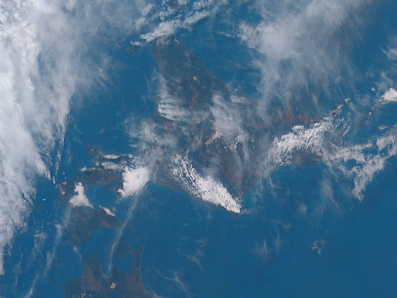 Satellite image showing atmospheric gravity waves above the Hokkaido region of Japan