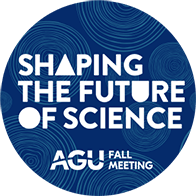 """Blue circle with white text reading """"Shaping the Future of Science"""" and """"AGU Fall Meeting"""""""