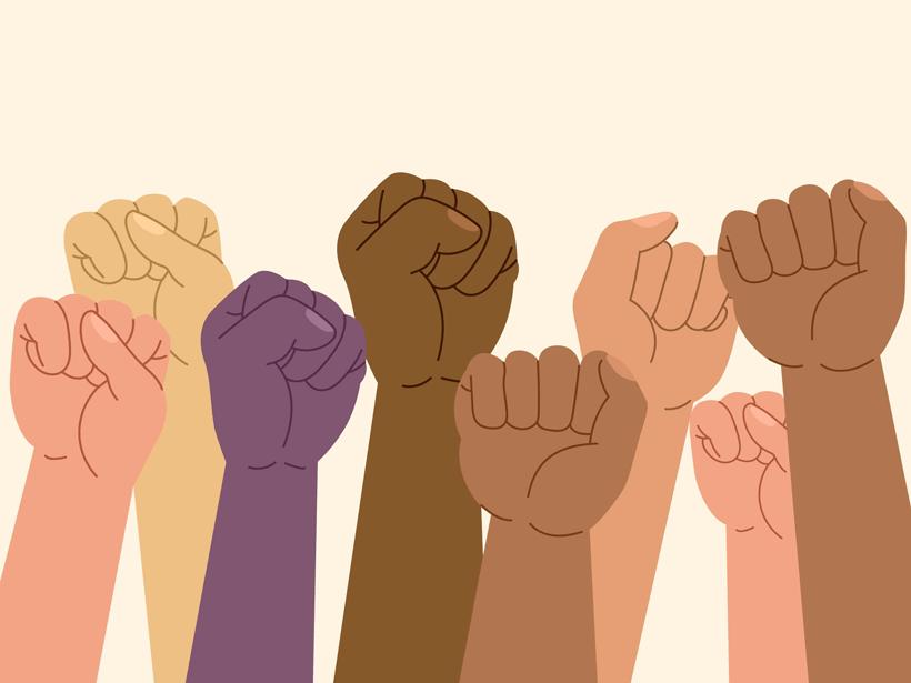Illustration of eight raised fists