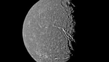 Grayscale image of Uranus's moon, Titania