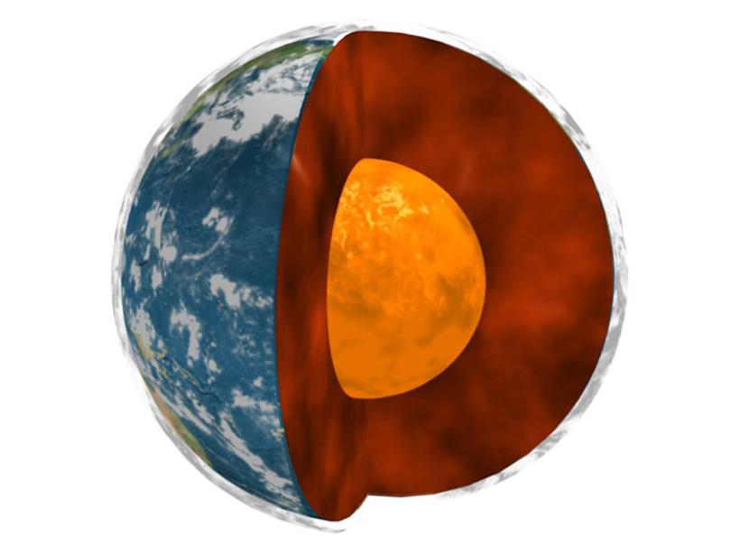Cutaway model of Earth's interior