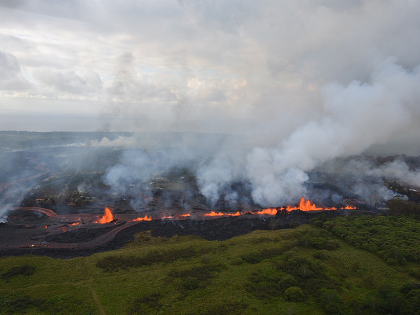 Aerial photo of a string of lava fountains on Kīlauea's East Rift Zone in 2018