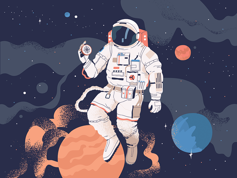 An illustration of an astronaut in space holding a compass.