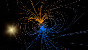 A graphic in space showing Earth's magnetic field lines with the sun in the background.