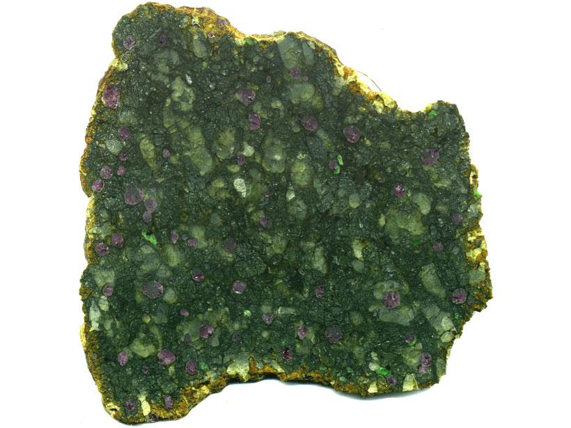 Close-up image of garnet lherzolite