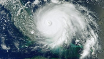 Satellite image showing Hurricane Dorian over the Bahamas in 2019