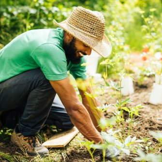 Naim Edwards plants at an urban farm in Detroit.