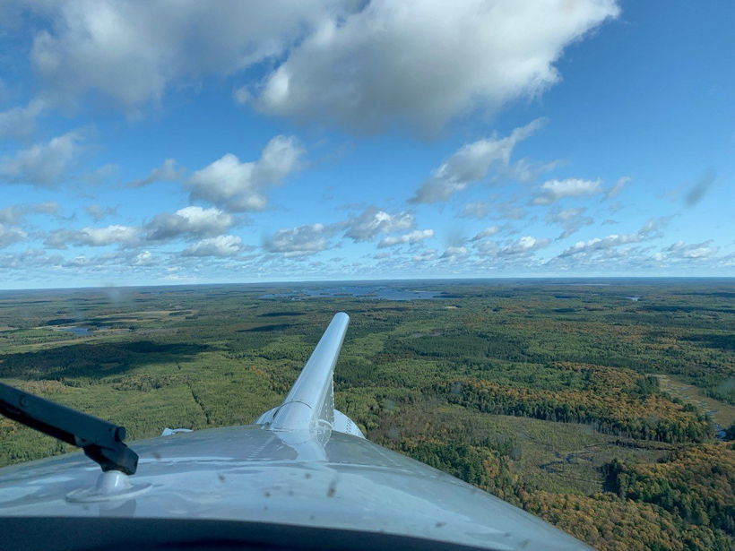The University of Wyoming King Air samples water and carbon fluxes over an autumn-forested landscape in northern Wisconsin, USA, as part of the CHEESEHEAD19 study.