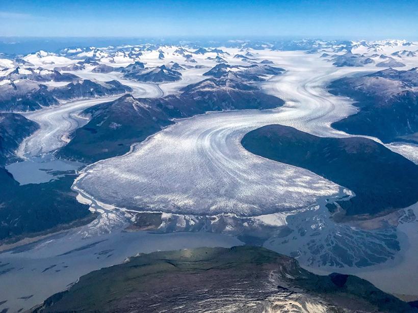 Aerial view of Taku Glacier's terminus in Taku Inlet
