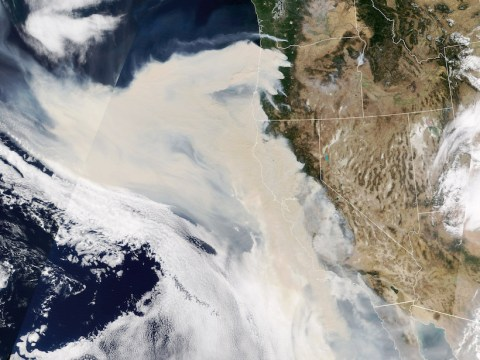Satellite image showing smoke spreading from numerous fires near the U.S. West Coast