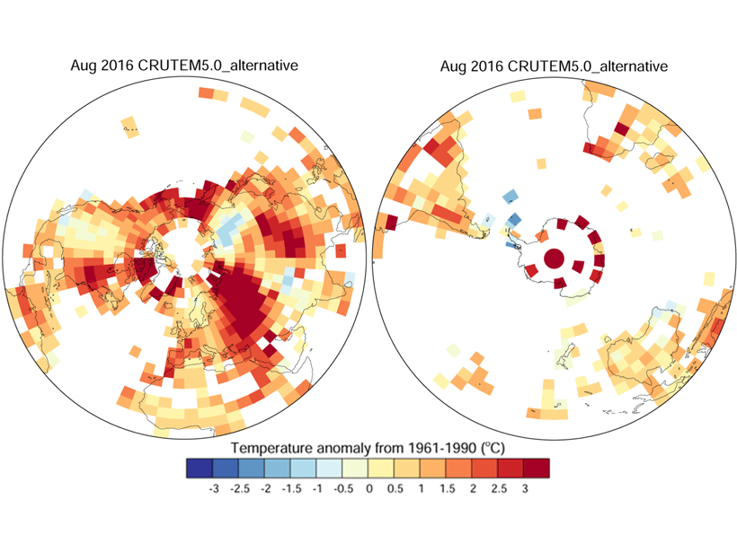 Maps of the northern (left) and southern (right) hemispheres showing temperature anomalies relative to the 1961–1990 mean for the month of August 2016 using an alternative gridding method