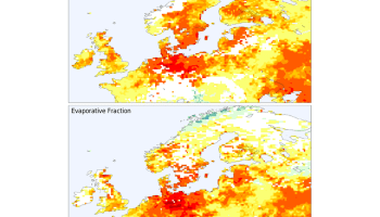 Two maps of Europe showing the fraction of days during May-August 2018 when estimated soil moisture fell below a critical threshold based on daily maximum temperature (top) and evaporative fraction (bottom) compared to the 1979-2018 average.