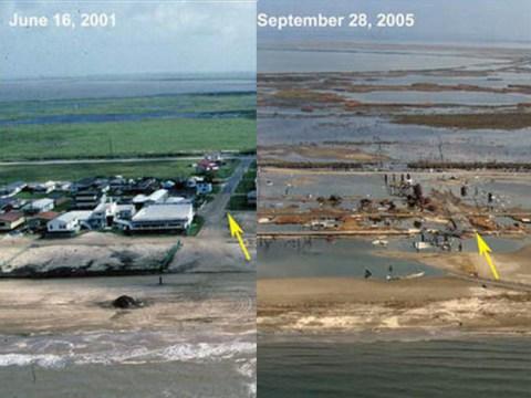 The impact of Hurricane Rita on Holly Beach, Louisiana, in 2005