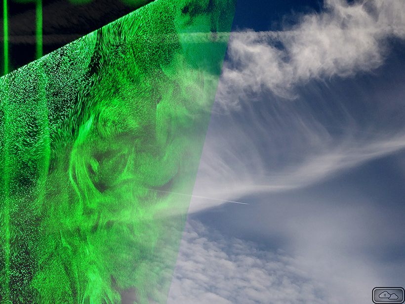 Cloud droplets in turbulence (left) and cloud droplets in Earth's atmosphere (right)