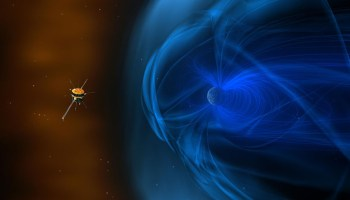 Illustration of the Wind spacecraft in front of the magnetosphere that surrounds Earth.