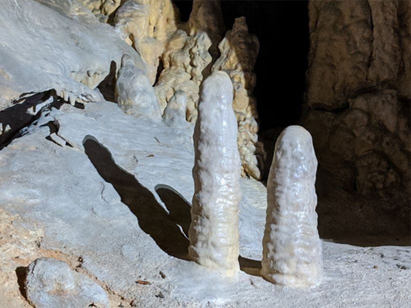 Two small stalagmites in Yonderup Cave