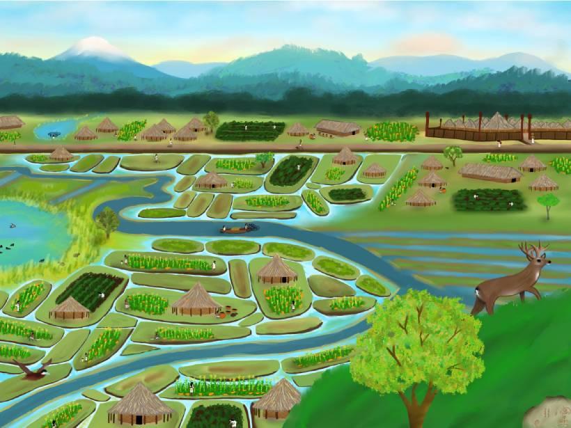 Illustration describing the Bogotá savanna from the observation point of the Cerro de Suba (Suba's Hill) overlooking the territory where the Bogotá River runs through the landscape
