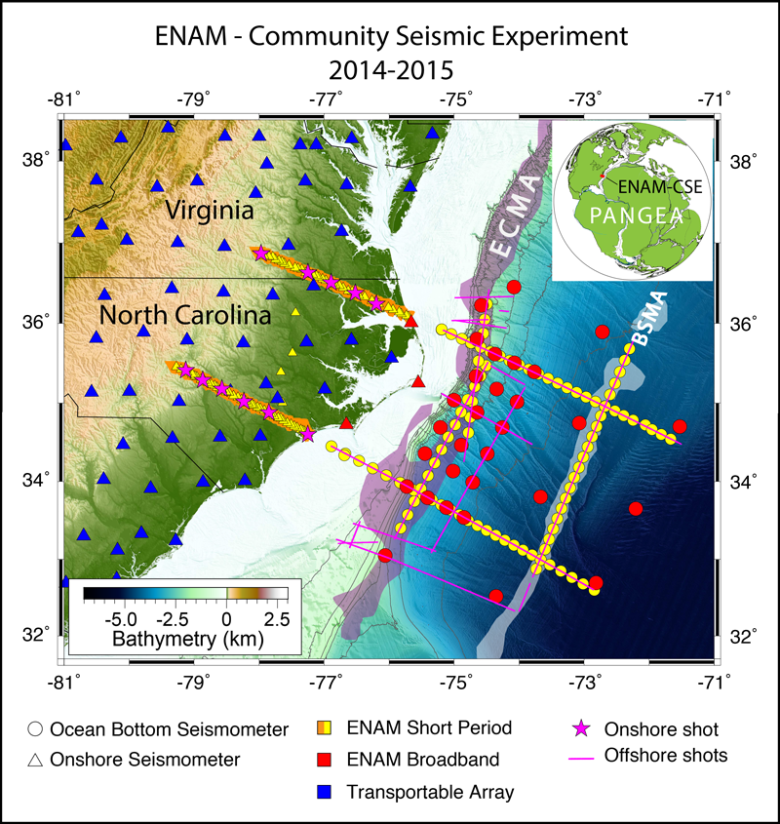 Map showing experiments run and instrumentation used during the Eastern North American Margin Community Seismic Experiment offshore North Carolina