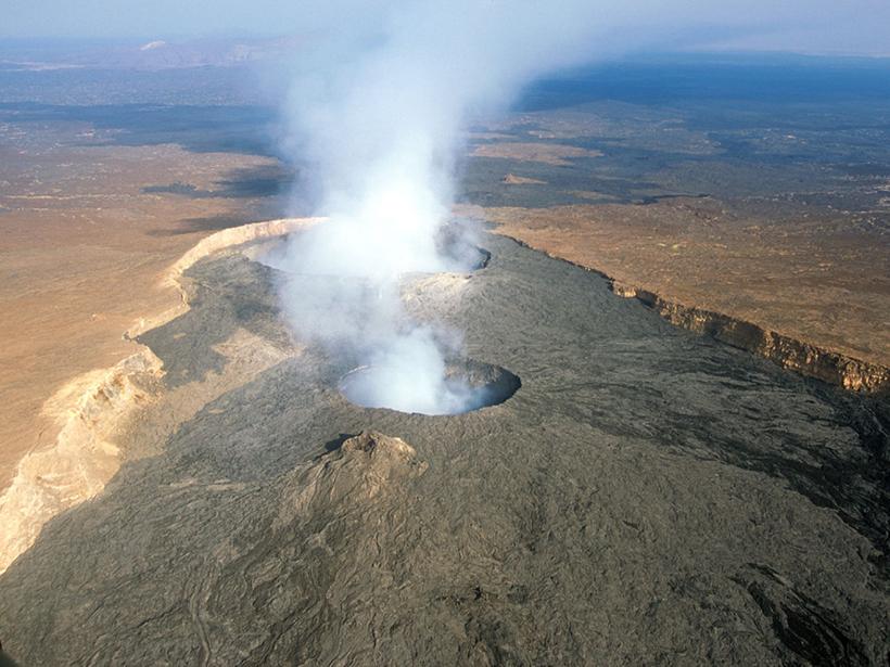 Aerial view Erta Ale volcano in Ethiopia