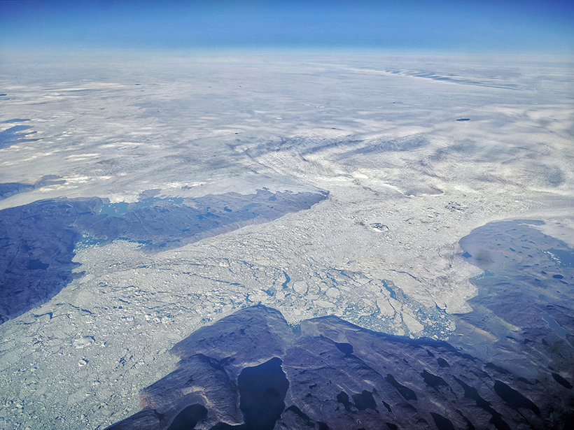 Aerial view of part of the Greenland Ice Sheet