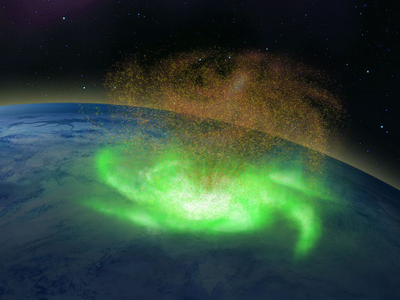 A bird's-eye view of a green, spiral-shaped aurora above Earth from space. An orange, spiral-shaped funnel of electrons is visible above the aurora.