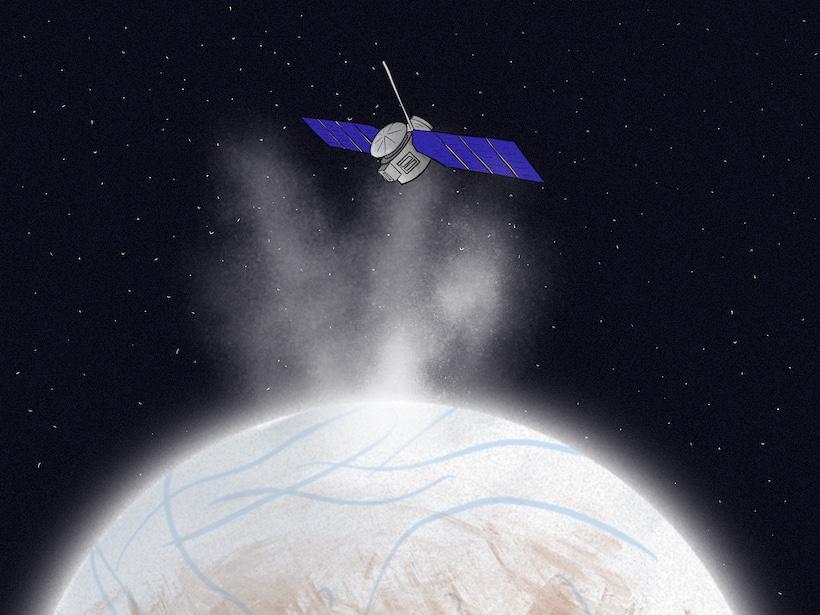 Una representación artística de Europa Clipper volando a través de las plumas de Europa, estudiando la luna y buscando vida.