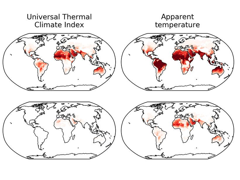 不同的热应力指标以不同的方式变化,但是气候模型显示出全球范围内热应力增加的明显趋势。