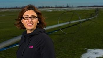 Investigadora Monireh Faramarzi en una granja agricultora en Alberta, Canadá.