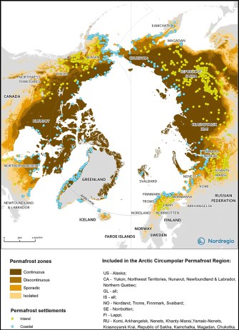 A map of current permafrost settlements in the circumpolar region.