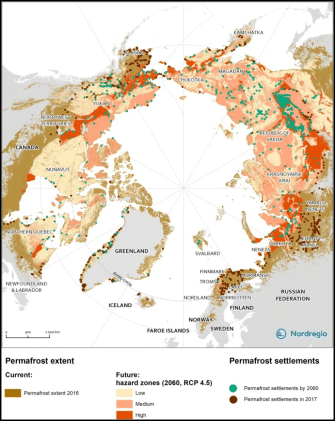 The hazards of thawing permafrost depend on physical properties like ground ice content, ground temperature, sediment content, and slope gradient.