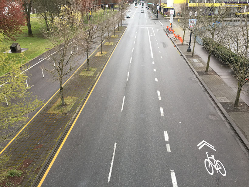 An image of Naito Parkway in Portland, Ore., during the COVID-19 pandemic