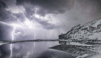 Artist's rendering of a thunderstorm occurring during a winter snowstorm