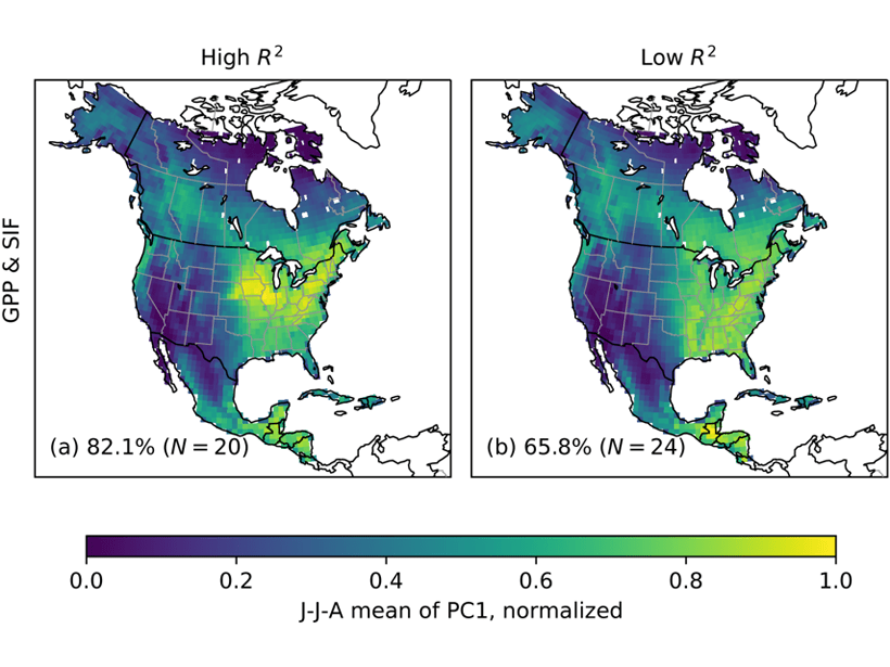Two maps of North America showing patterns of CO2 uptake by photosynthesis during the growing season based on two different models of atmospheric CO2 variations.