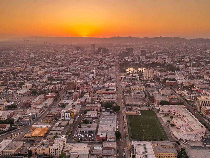 A photograph of downtown Los Angeles.