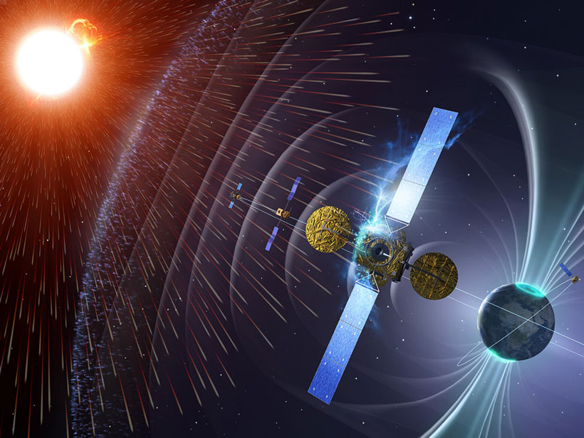 Artist's depiction of Earth in a shower of cosmic rays coming from a background Sun.