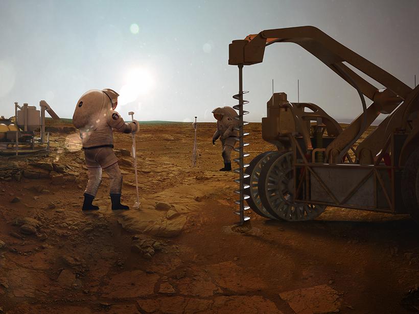 Rendering de un artista de exploradores en Marte extrayendo agua de depósitos de hielo subterráneos.