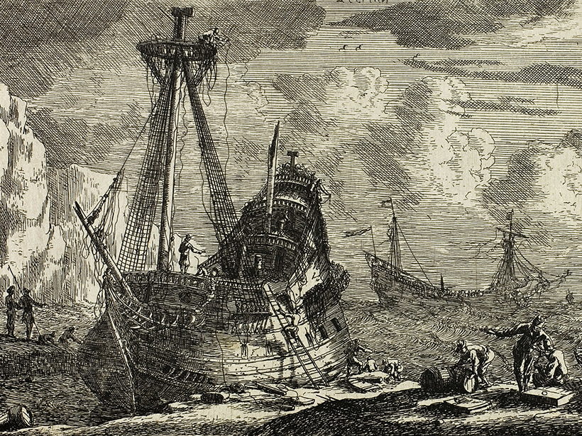 Seventeenth century Reinier Nooms painting of ships