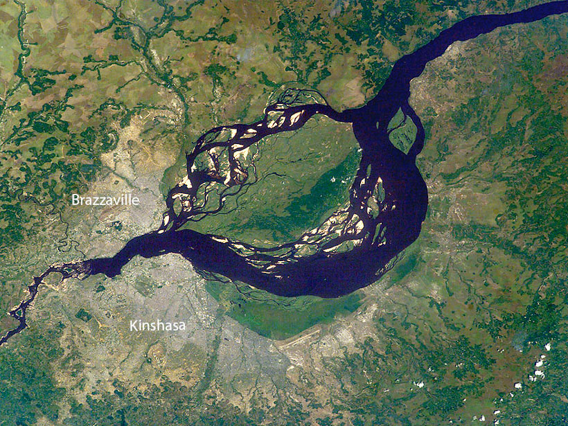 Kinshasa and Brazzaville, two capital cities in Africa located on opposite banks of the Congo River
