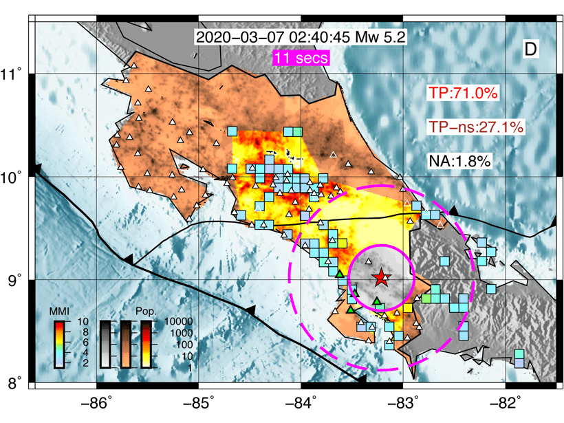 Map of Costa Rice showing results from the ASTUTI network for a magnitude 5.2 earthquake.